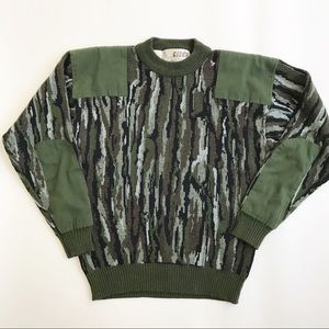 Vintage Eider Camo Elbow Patches Sweater XL